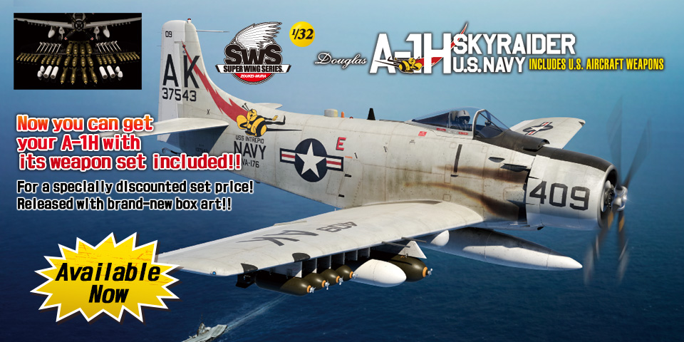SWS No.03 1/32 A-1H U.S.NAVY INCLUDES U.S. AIRCRAFT WEAPONS